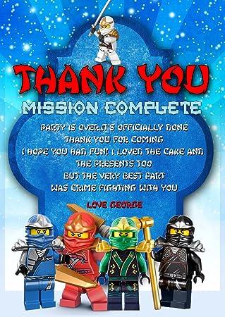 Lego Ninjago Fiesta De Cumpleanos Tarjetas De Agradecimiento X8