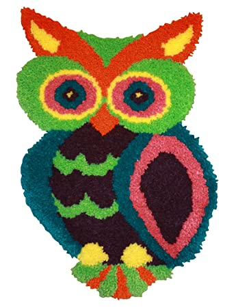 MCG Textiles 37723 Owl Shaped Latch Hook Rug Kit, 18.5 By 27 Inch
