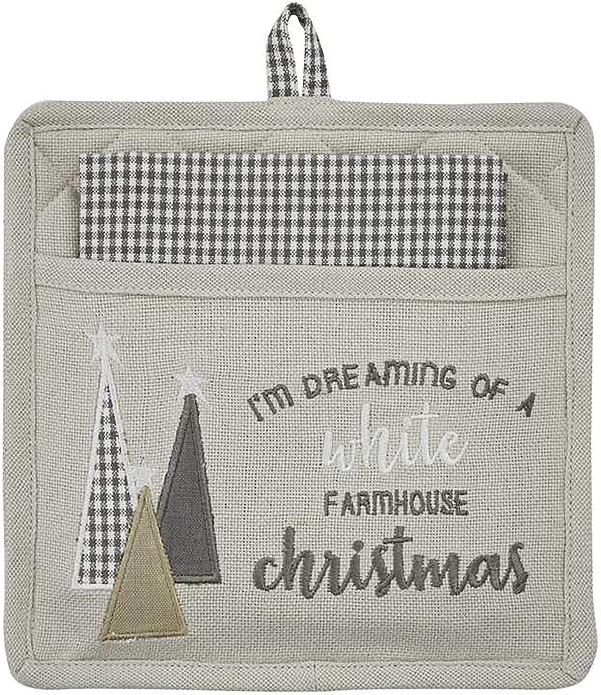 Park Designs White Farmhouse Christmas Pocket Potholder Set