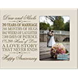 """Personalized twenty year anniversary gift for her him couple Custom Engraved 20th year wedding anniversary celebration gift frame holds 4x6 photo frame size 10"""" w x 8"""" h x 1/2"""" (Ivory)"""