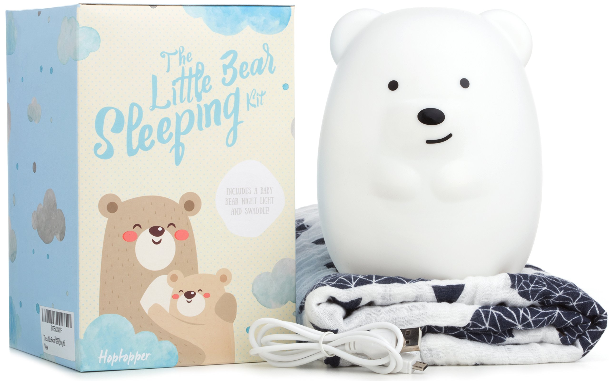 Baby Night Light + Swaddle Adjustable Muslin Blanket Great Gift For Baby Showers The Little Bear Sleeping Kit by Hoptopper