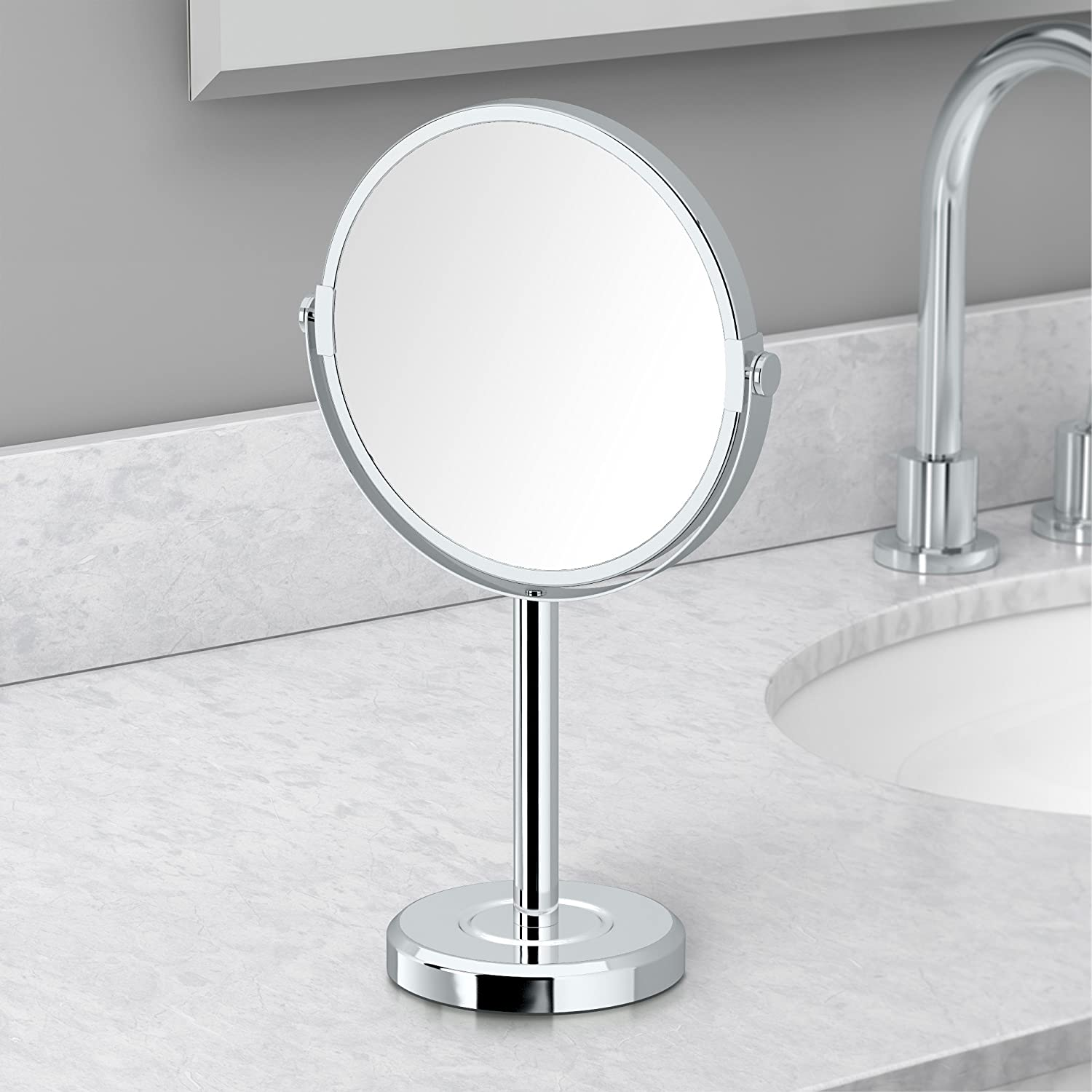 Minimalist Bathroom Counter: Gatco 1391 Magnified Table Mirror Chrome Click Image To Review