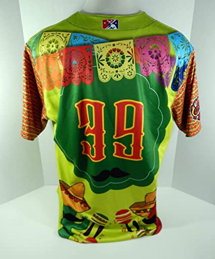 f089fd14efd 2018 Florida Fire Frogs  39 Game Issued Green Cinco De Mayo Jersey ...
