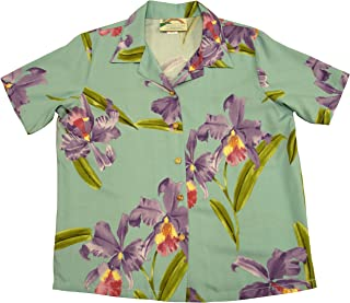 product image for Paradise Found Women's Orchid Corsage Palm Aloha Shirt, Aqua, L