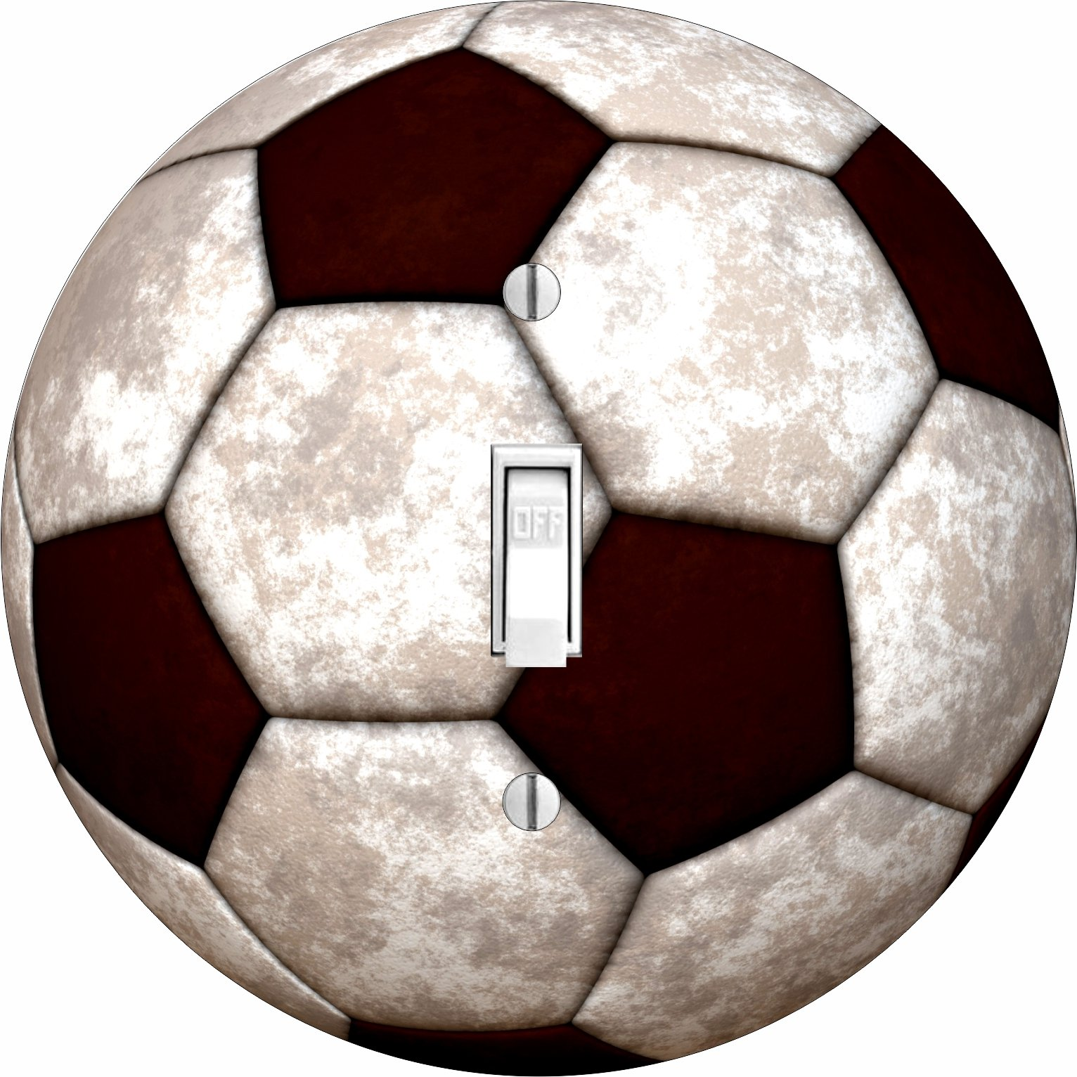 Boys Room Soccer Ball Hardboard Light Switch Cover for Single Lightswitch