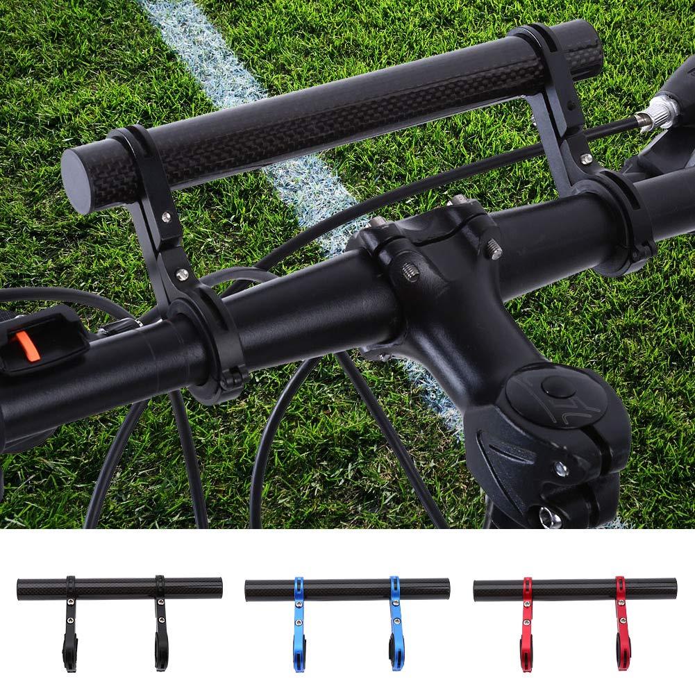 SolUptanisu Bike Handlebar Extender Carbon Fiber Bicycle Double Handlebar Bracket Extension Mount Holder Bicycle Accessories for Bike Light Flashlight Speedometer