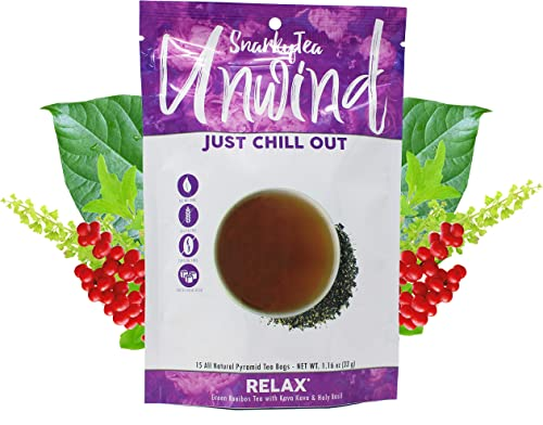 Snarky Tea Unwind Soothing Stress Relief Tea Holy Basil Kava Kava Herbal Tea 15 Pyramid Sachets