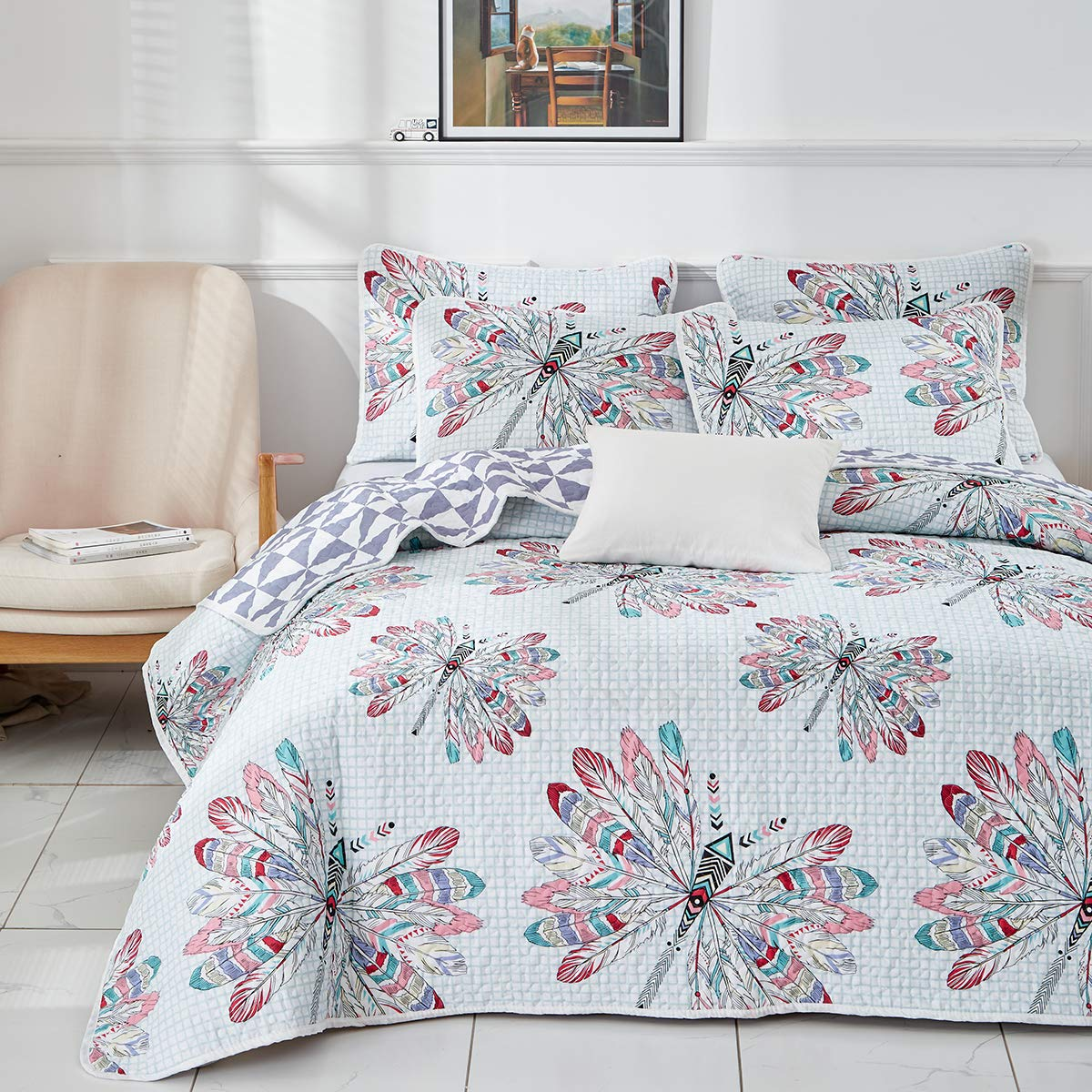 1 Quilt + 1 Shams Uozzi Bedding 2 Piece Reversible Navy Quilt Set Twin Size 68x86 with Cars Bus Traffic Style Soft Microfiber Lightweight Coverlet Summer Bed Cover Set Blanket for Kids