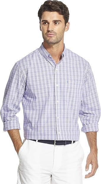 IZOD Camisas de cuadros de rendimiento elástico de manga larga con botones para hombre