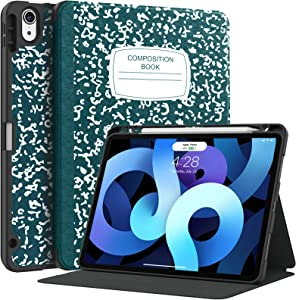 Supveco for iPad Air 4 Case with Pencil Holder -[Shockproof Protection + 2nd Gen Apple Pencil Charging + Auto Wake/Sleep],Slim Lightweight Soft TPU Back Cover for iPad Air 4 Gen 10.9 Inch 2020-Teal