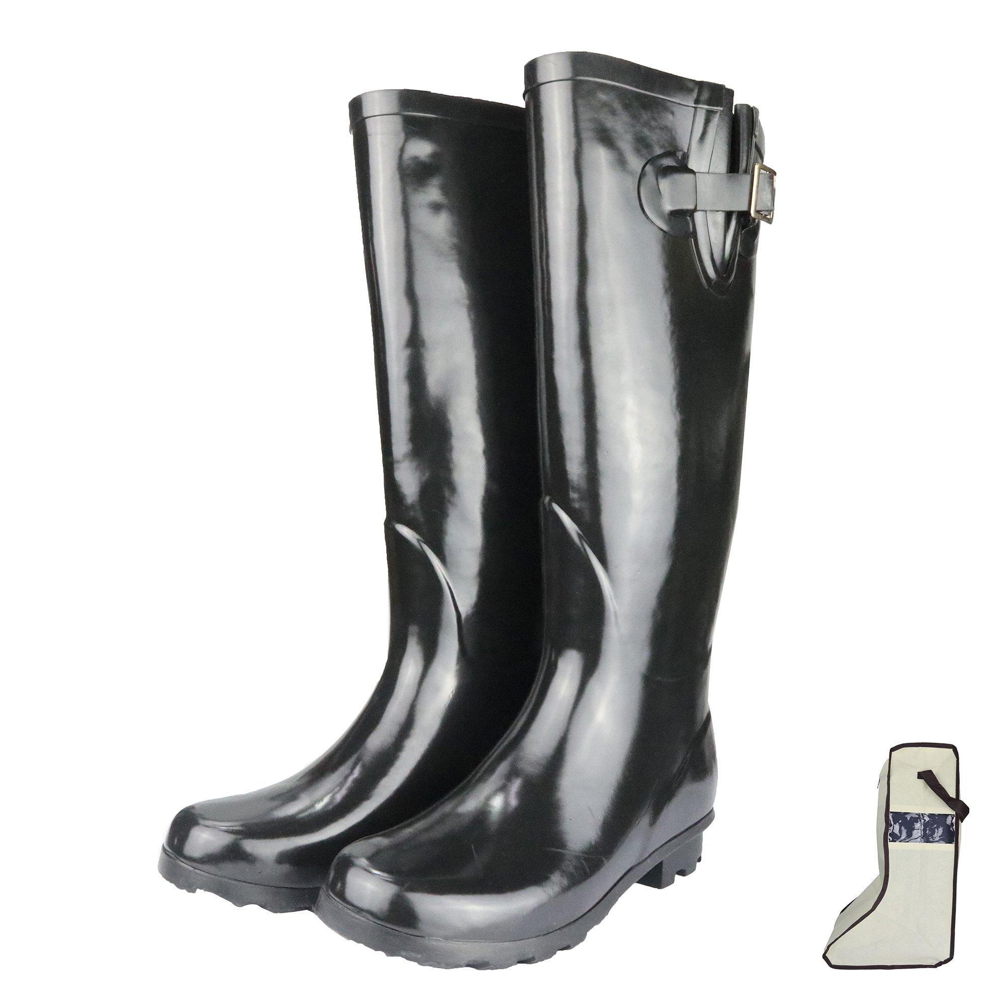 RAHATA Rubber Wide Calf Rain Boots for Women with Storage Bag Carabiner, Black/9 B(M) Us Women