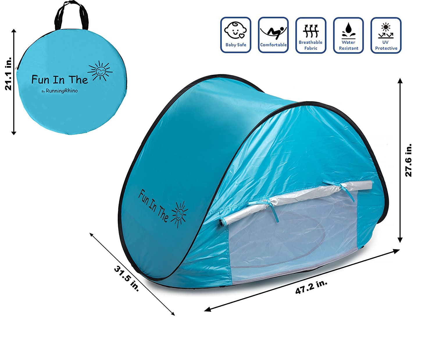 Amazon.com Baby Pop Up Tent by Fun In The Sun | Portable Baby Beach Tent with Shaded Pool And Foldable Water Bucket Set | 50+ UPF UV Protection.  sc 1 st  Amazon.com & Amazon.com: Baby Pop Up Tent by Fun In The Sun | Portable Baby ...