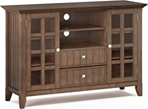 SIMPLIHOME Acadian SOLID WOOD Universal Tall TV Media Stand, 53 inch Wide, Farmhouse Rustic, Storage Shelves and Cabinets, for Flat Screen TVs up to 60