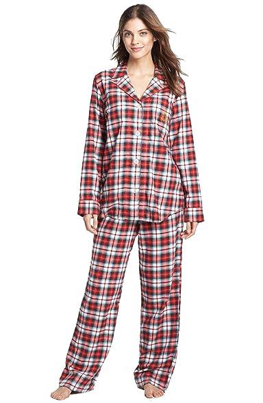 Lauren Ralph Lauren Women's Brushed Twill Top & Bottoms Pajama Set (3X,  Cream Plaid