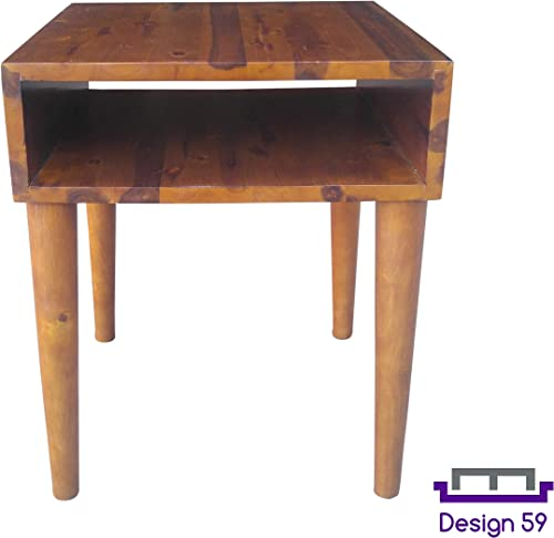 Design 59 inc Mid-Century Modern Acacia Hardwood Side End Table Night Stand, NO Tools Required