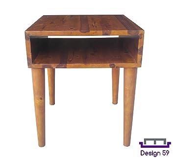 Design 59 Inc Mid Century Modern Acacia Hardwood Side / End Table / Night  Stand