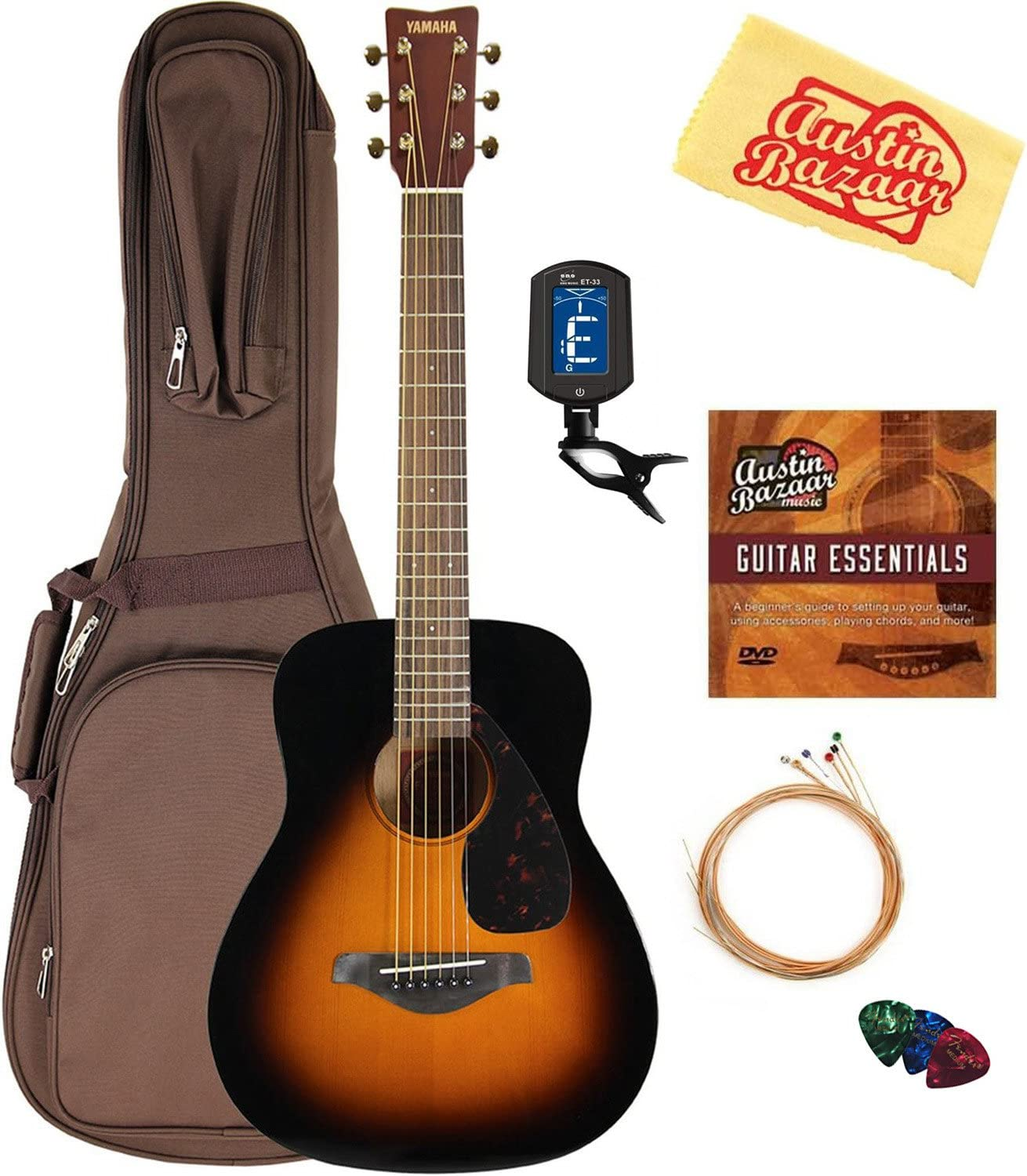 Yamaha JR2 Junior-Size 33-Inch Acoustic Guitar - Tobacco Sunburst Bundle with Gig Bag, Tuner, Strings, String Winder, Picks, Austin Bazaar Instructional DVD, and Polishing Cloth