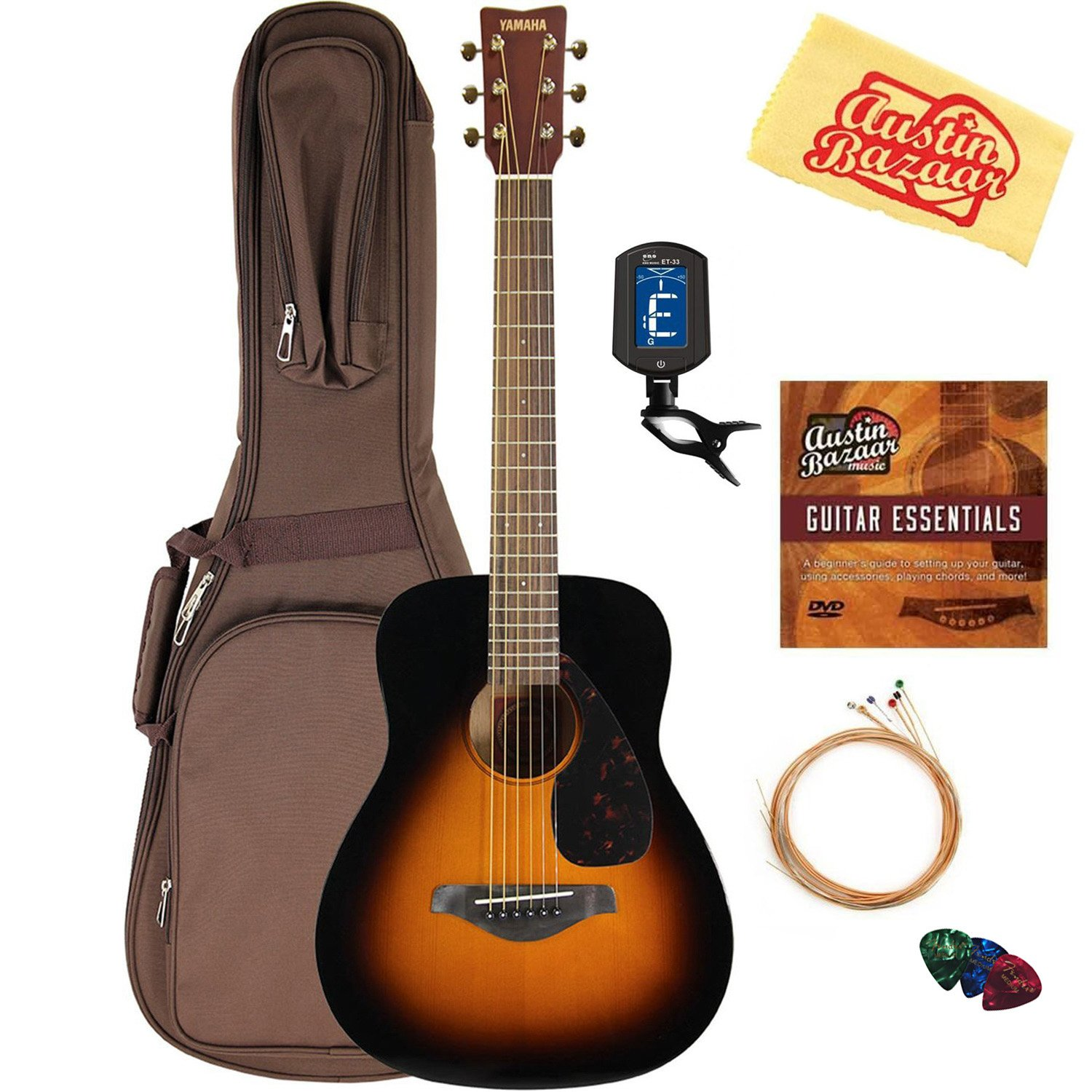 Yamaha JR2 Junior-Size 33-Inch Acoustic Guitar - Tobacco Sunburst Bundle with Gig Bag, Tuner, Strings, String Winder, Picks, Austin Bazaar Instructional DVD, and Polishing Cloth by YAMAHA