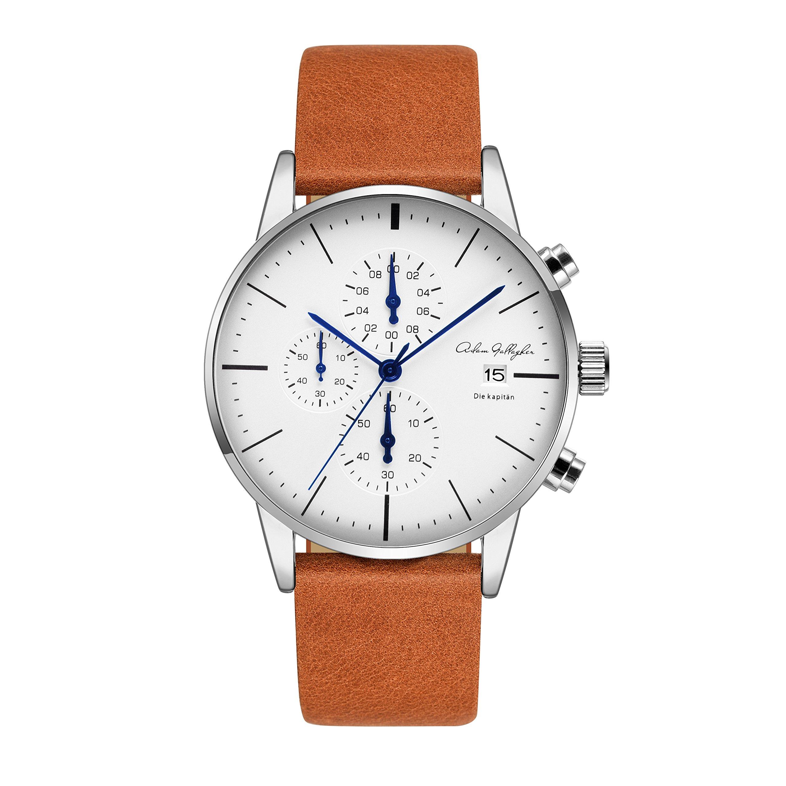 Adam Gallagher Men's Watches 43mm Wrist Quartz Multi Function Chronograph Watch Brown Leather Strap