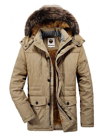 magasin en ligne 8d134 bc8cb Parka Homme Hiver Chaud Manteau Fourrure Capuche Veste Militaire Blouson