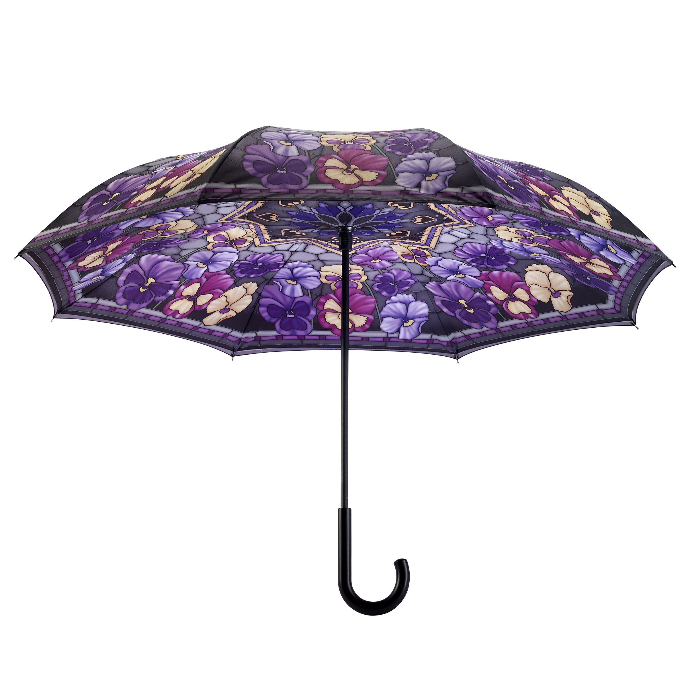 Galleria's Reverse Close Umbrella, Stained Glass Pansies with art on both sides.
