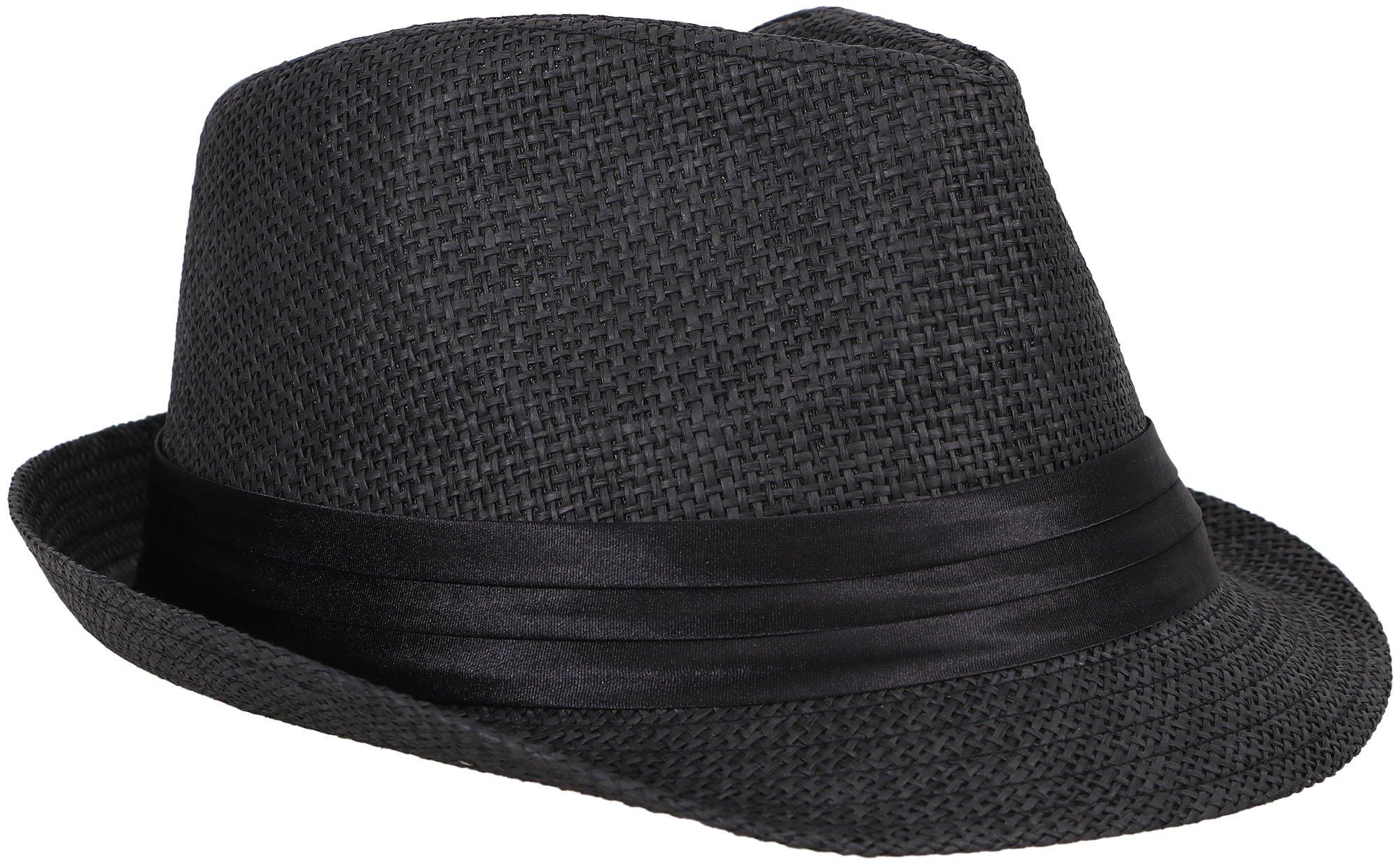 Verabella Fedora Hat Women/Men's Summer Short Brim Straw Fedora Sun Hat,Black,SM by Verabella (Image #1)