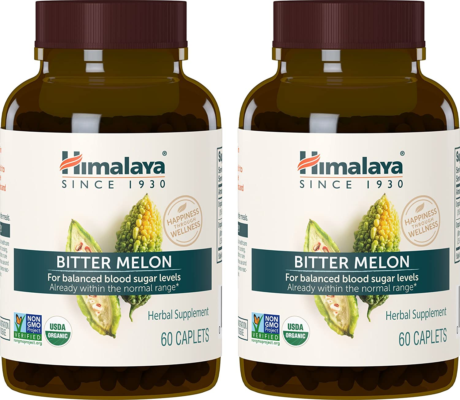 Himalaya Organic Bitter Melon Karela, 60 Caplets for Glycemic, Pancreatic Support Weight Management 660mg 2 Pack 2 Month Supply