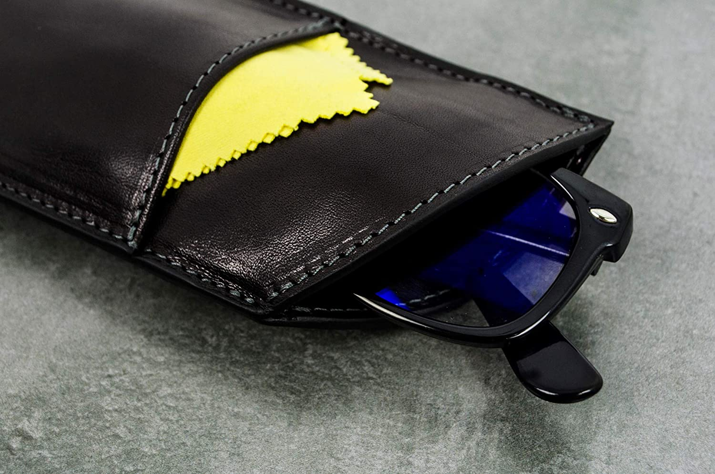 Brillenetui aus Leder schwarz f/ür Lesebrille und Sonnenbrille Time Resistance