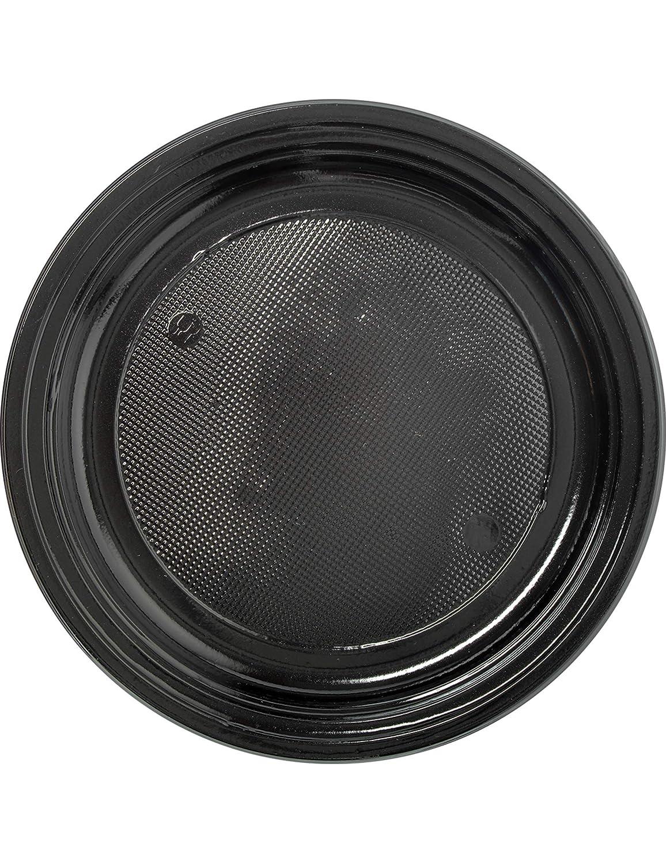 COOLMP - Juego de 12 Platos de plástico Negro, 22 cm, Talla ...