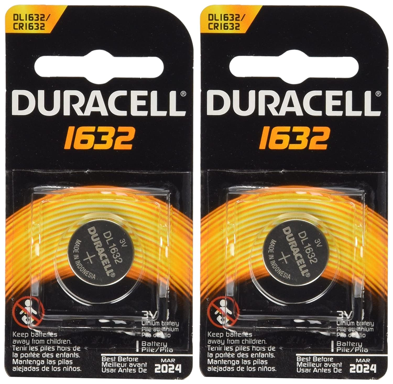 Amazon.com: 3 X 2 Duracell Cr1632 1632 Car Remote Batteries: Health &  Personal Care