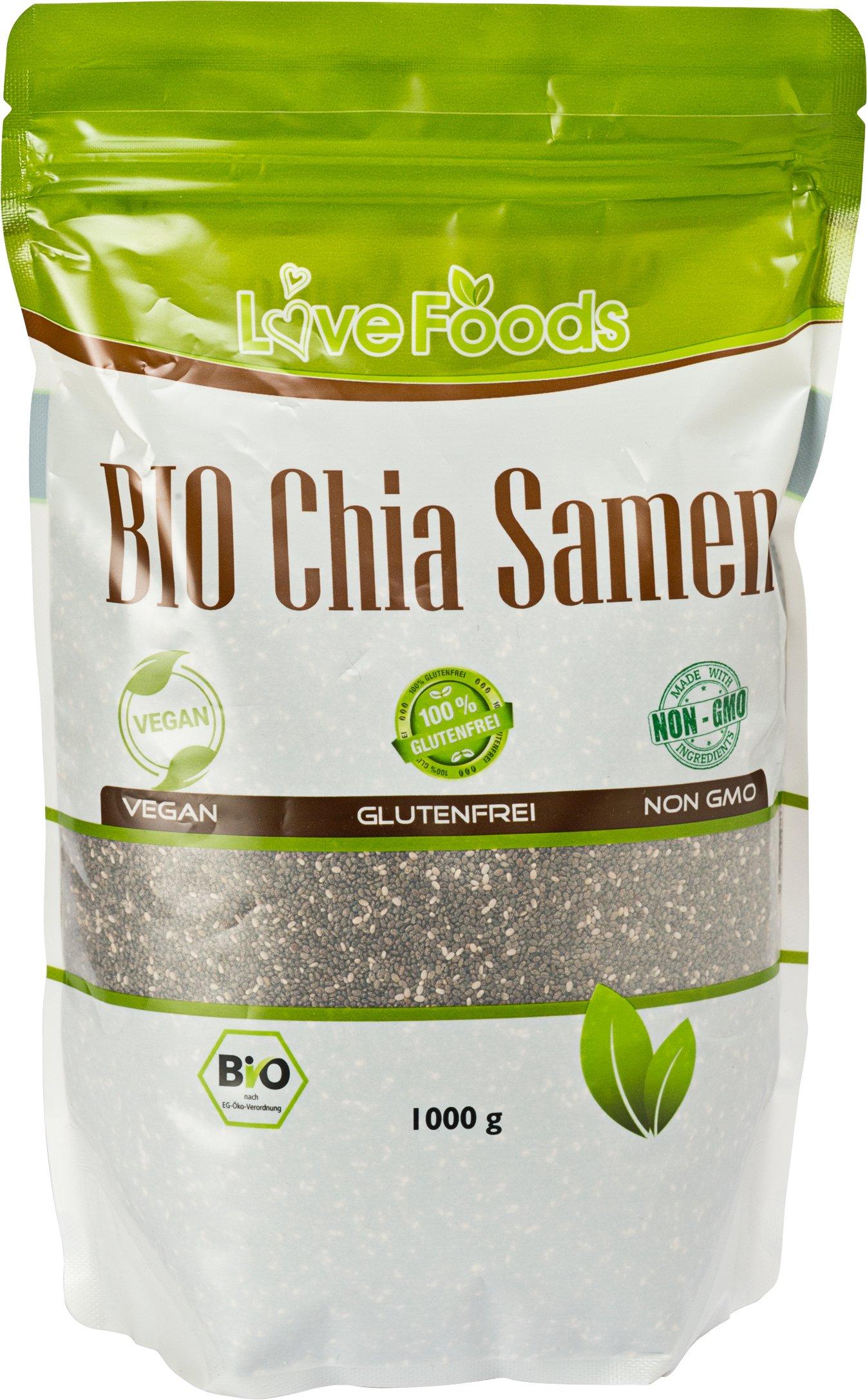 BIO Chia Samen BIO - 1000 g - Chiasamen 1kg - DE-ÖKO-039 - Love Foods - Bonus: Inklusiv Rezepte-eBook product image