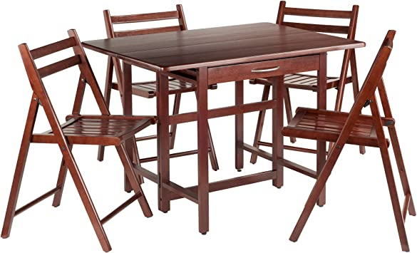 Silver Dining Table And Chairs, Amazon Com Winsome Wood Taylor 5 Pc Set Drop Leaf Table W 4 Folding Chairs Table Chair Sets