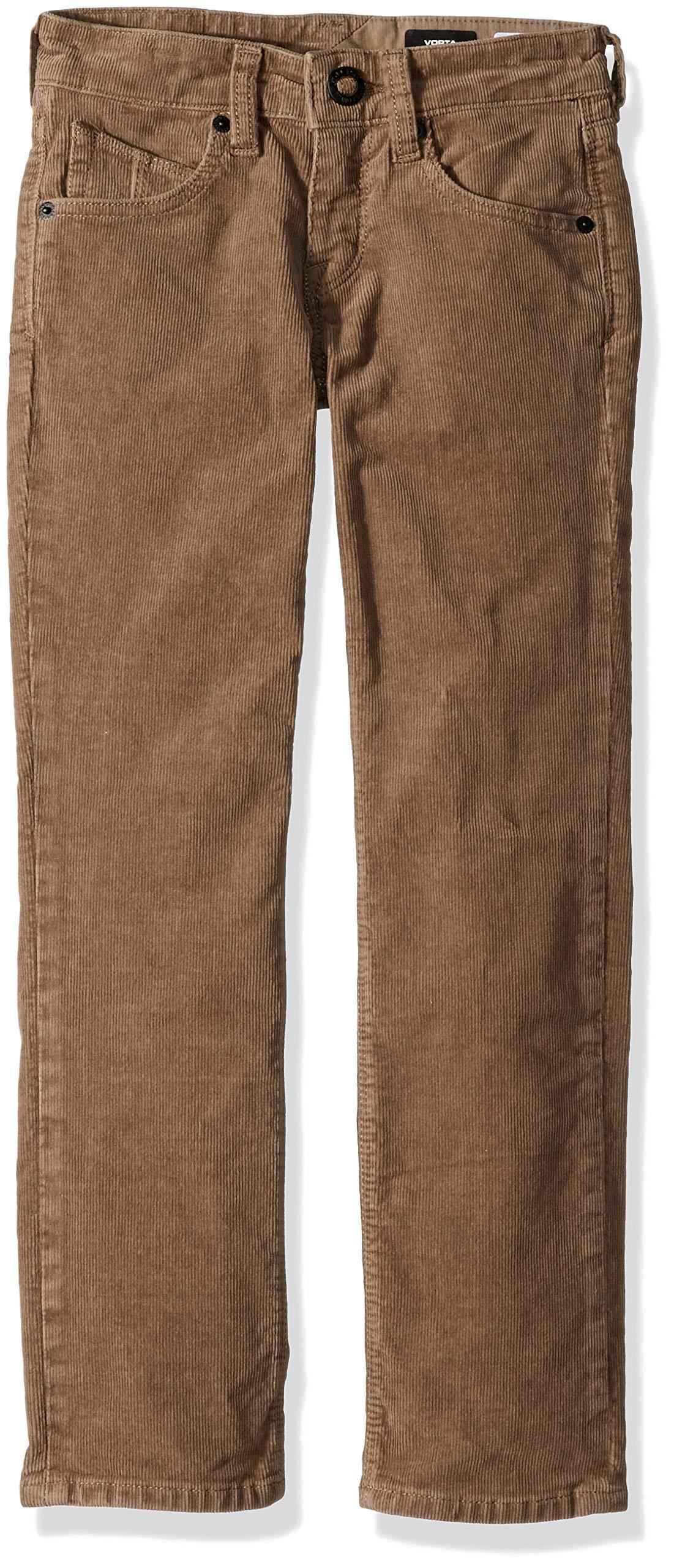 Volcom Boys' Big Vorta 5 Pocket 13'' Leg Opening Corduroy Pant, Mushroom, 27