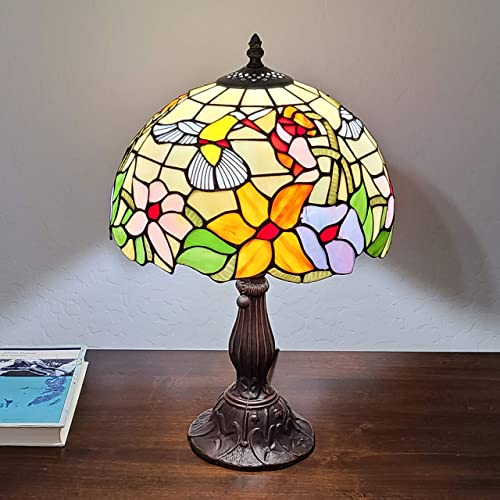 Amora Lighting Tiffany Style Table Lamp Banker 19″ Tall Stained Glass Yellow Red Tan Floral Hummingbird Vintage Antique Light D cor Living Room Bedroom Office Handmade Gift AM1112TL12B