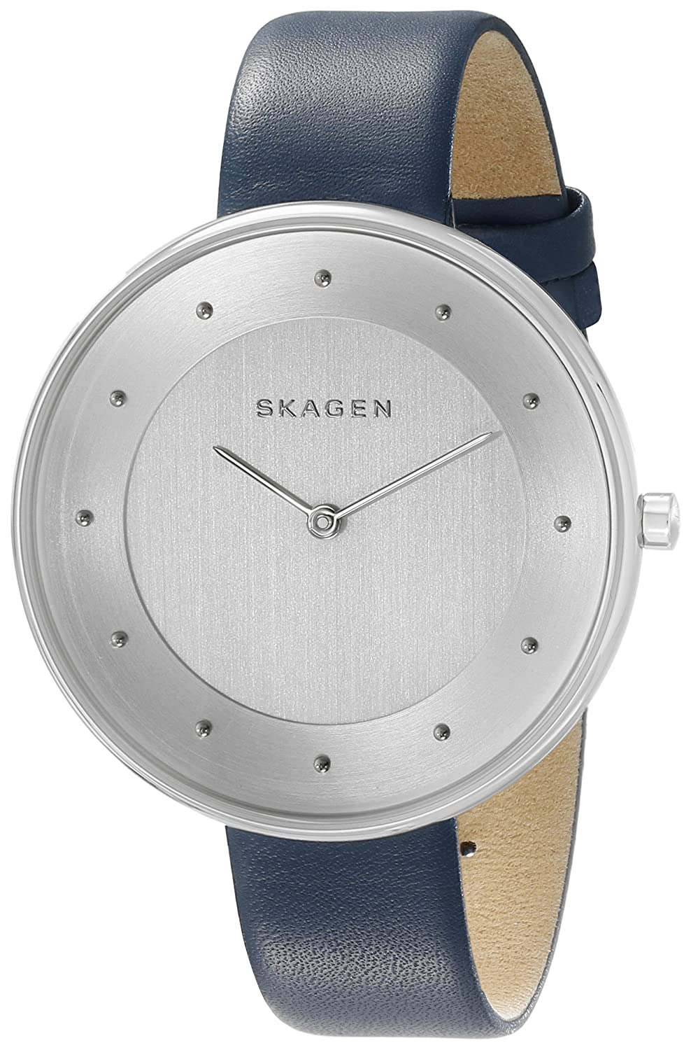 Skagen Women s SKW2315 Gitte Stainless Steel Watch with Blue Leather Band
