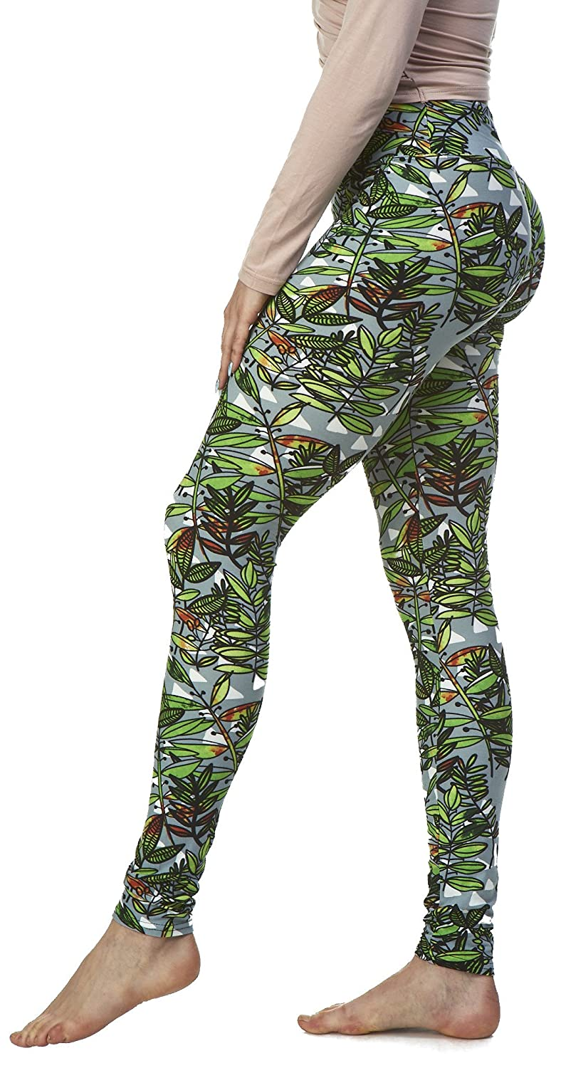LMB Lush Moda Extra Soft Leggings with Designs- Variety of Prints LMB3041-12YF Floral Black