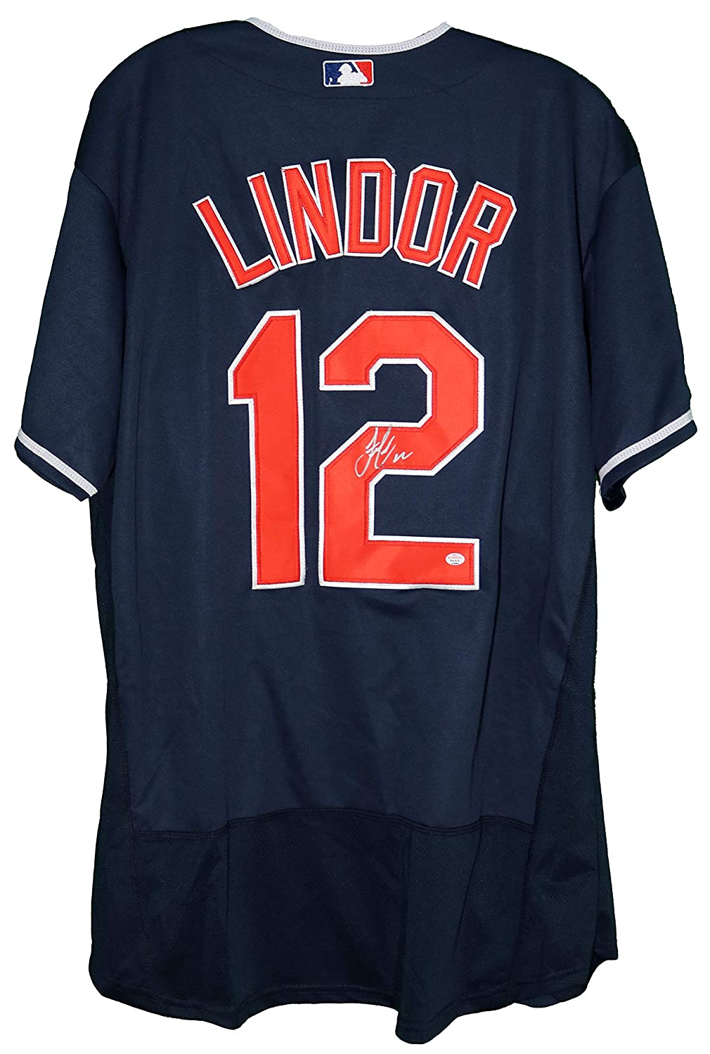 c89e5d6c6 Francisco Lindor Cleveland Indians Signed Autographed Blue  12 Jersey PAAS  COA at Amazon s Sports Collectibles Store