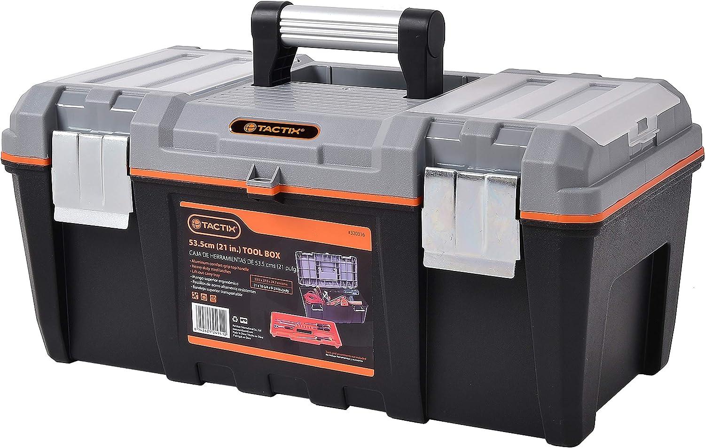 "Tactix 320316 Mid-Grade Plastic Tool Box, 21"", Black/Orange - - Amazon.com"