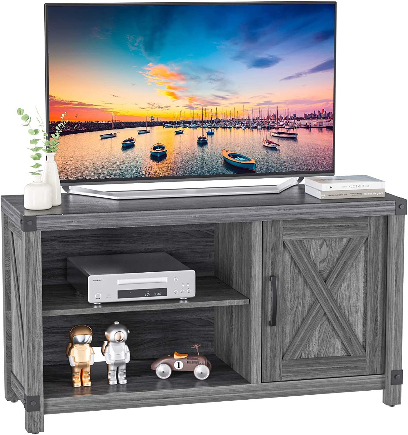 TV Console Cabinet for TVs up to 50 Inch W/Media Shelves, Farmhouse TV Stand Style Entertainment Center for Soundbar or Other Media, Barn Door TV Stand with Storage for Living Room Bedroom, APRTS03D