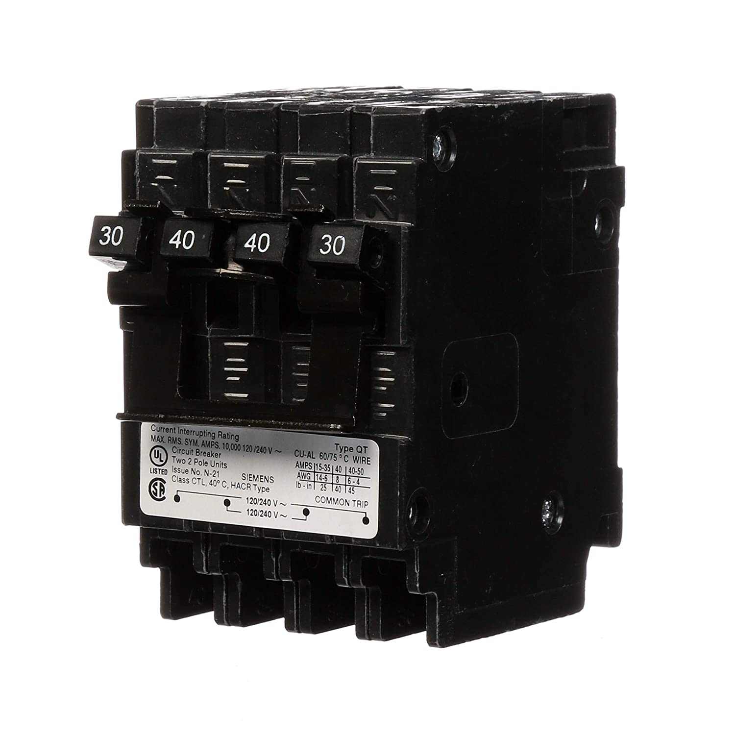 Siemens Q23040CT2 30-Amp Double Pole/40-Amp Double Pole 10-Kaic Circuit Breaker