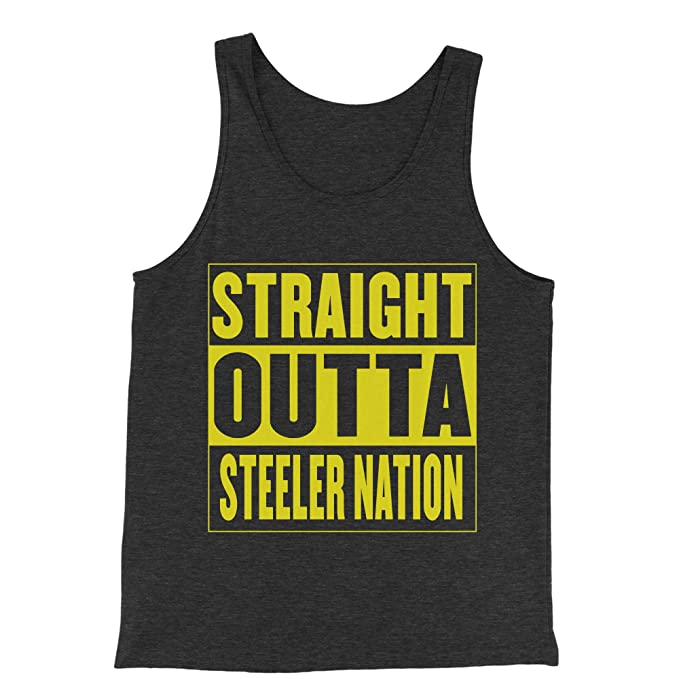 c4d618a19 Expression Tees Tank Top Straight Outta Steeler Nation Football Small  Charcoal Grey Mens Jersey Tank