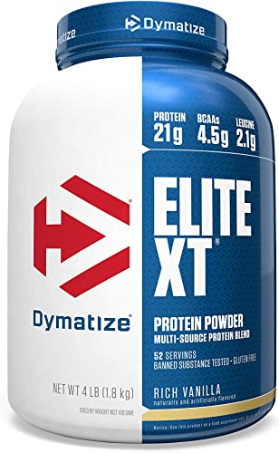 Dymatize Elite XT Protein Powder, Multi-Source Protein, 21g Protein, 4.5g BCAAs 2.2g L-Leucine, with Slower Absorbing Casein, Rich Vanilla, 4 Pound