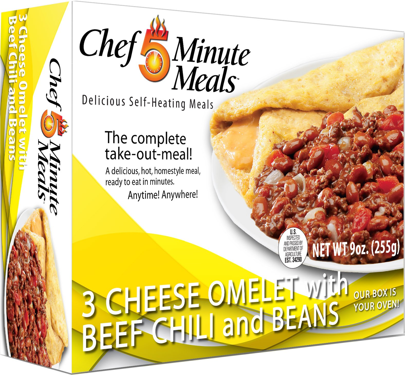 Chef 5 Minute Meals Self Heating Meal Breakfast: 3 Cheese Omelet w/Beef Chili with Beans - Case of 12