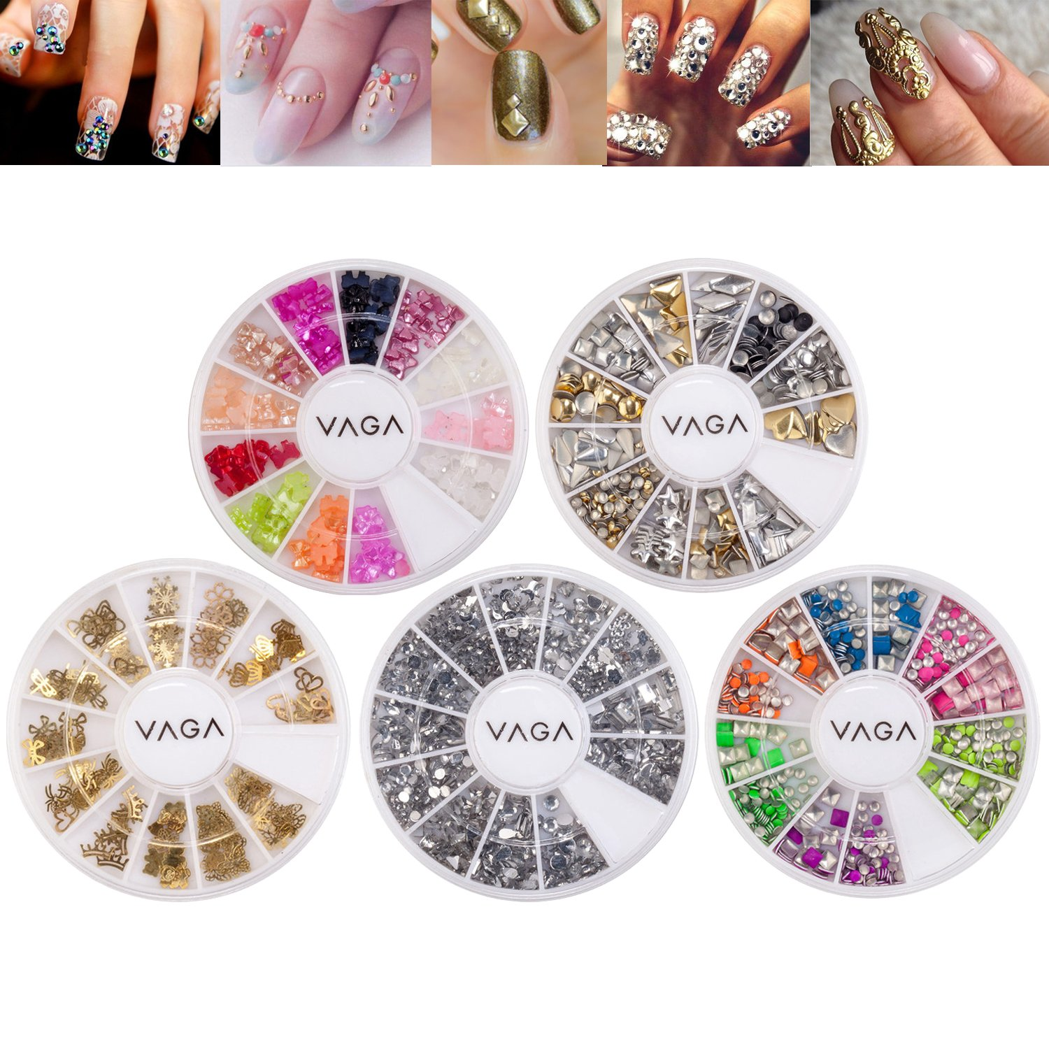 Professional Premium 3D Nail Art Decorations Kit Set With Different Designs of Golden Metal, Gold, Silver And Neon Colors Studs, Pearl Bow Ties And Rhinestones / Gemstones / Crystals By VAGA©
