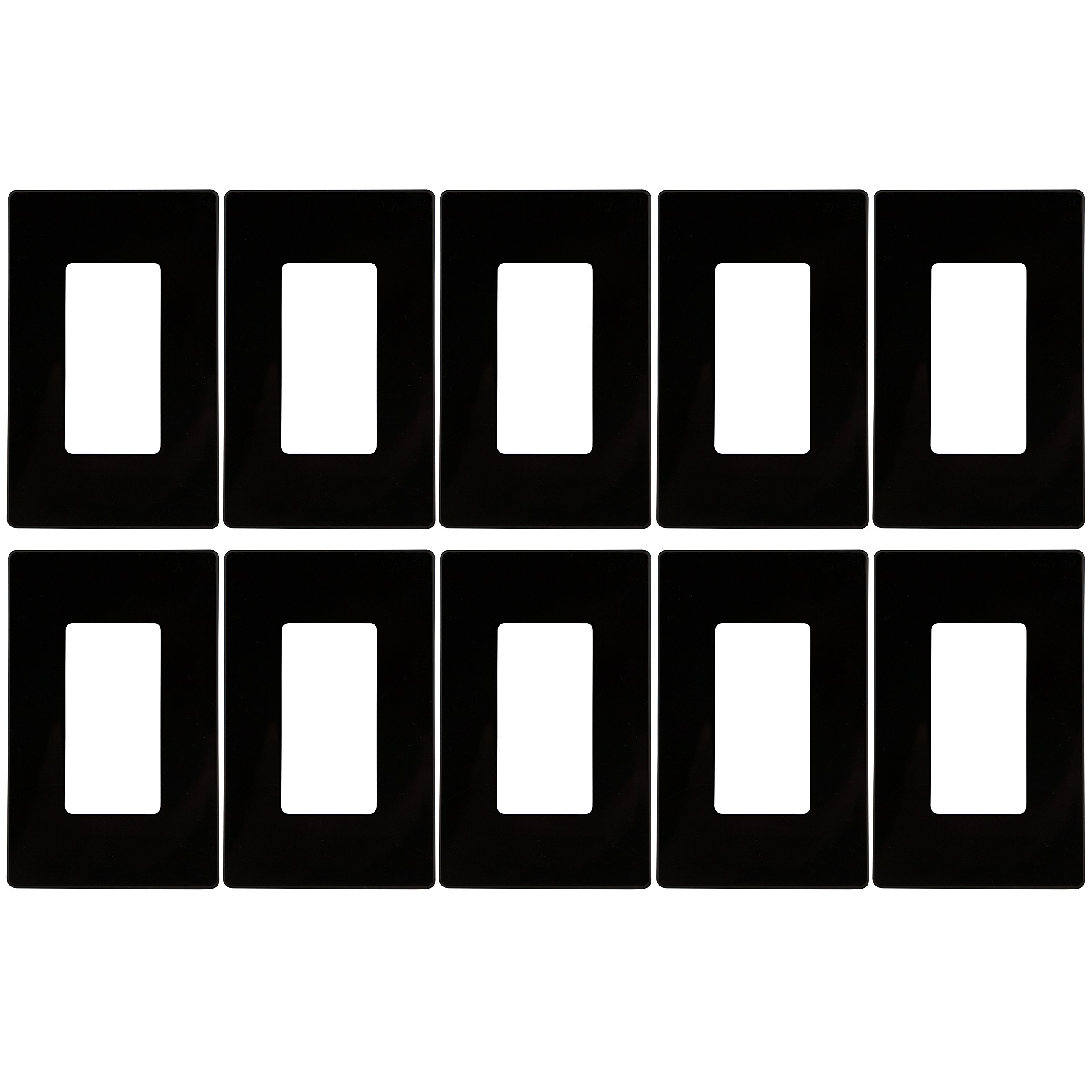 Enerlites SI8831-BK-10PCS Screwless Cover Child Safe Decorator Wall Plate, Standard Size 1-Gang, Unbreakable Polycarbonate Thermoplastic, Black (10 Pack)