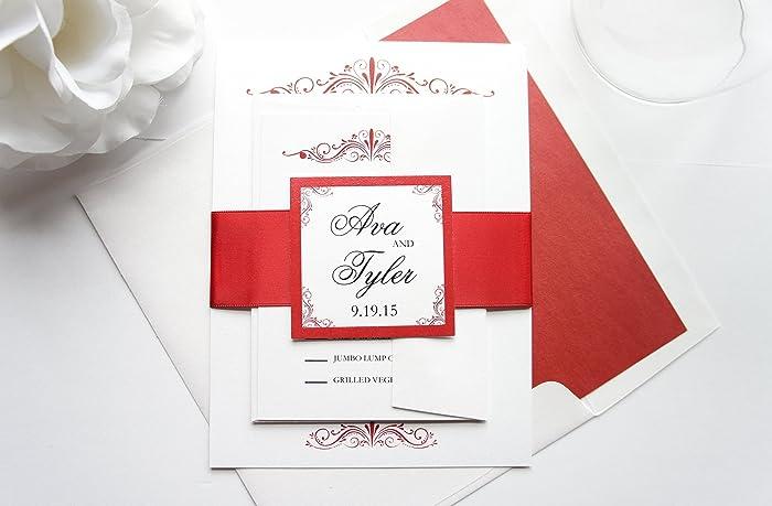 Amazon Com Red Wedding Invitation Sample Set Handmade