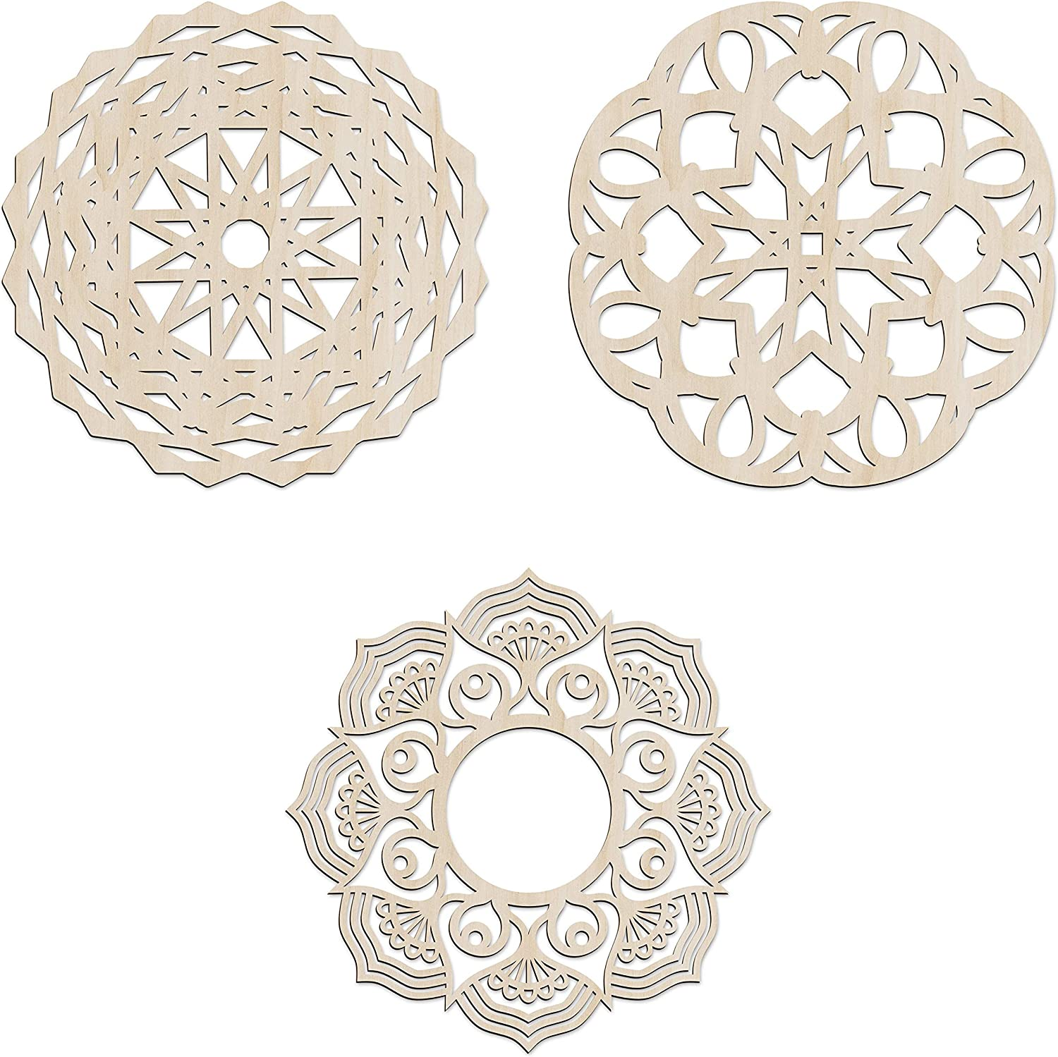 Ambesonne Mandala Wooden Wall Art Set of 3, Traditional Folk Swirling Spring Floral, Birch Wood Plywood Rustic Wall Art Accent for Hallway Bedroom Living Room Cafes and Offices, 11.4
