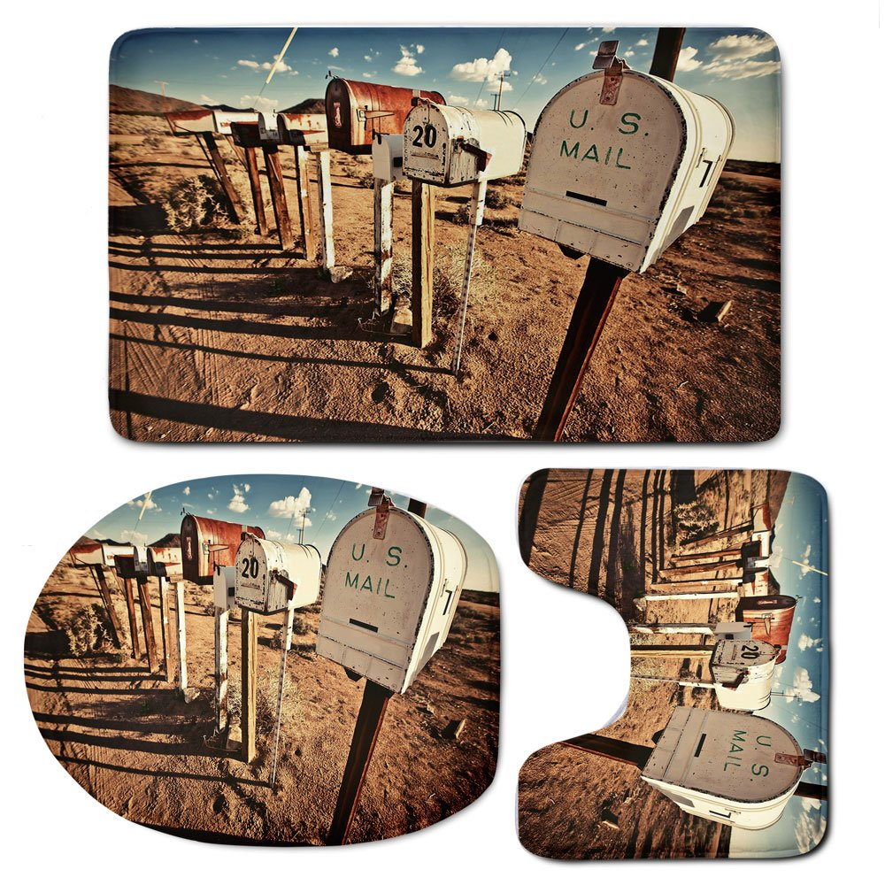 3 Piece Bath Mat Rug Set,United-States,Bathroom Non-Slip Floor Mat,Old-Mailboxes-in-West-America-Rural-Rusty-Landscape-Grunge-Countryside-Decorative,Pedestal Rug + Lid Toilet Cover + Bath Mat,Brown-Bl