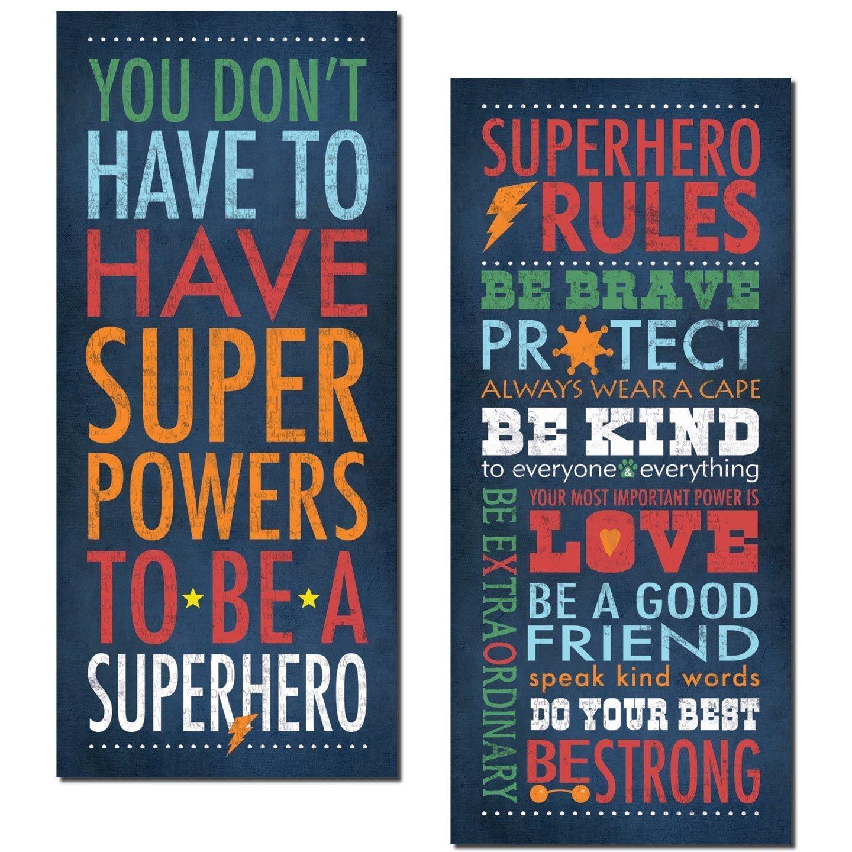 """Superhero Rules Set by Stephanie Marrott; Two 8""""x18"""" Prints"""