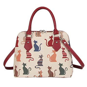 a1d42fc6bec9d Mittelgroße Handtasche -Schultertasche für Damen (frechen Katze) – im  Gobelin Stil